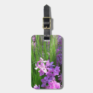 Pink Phlox and Grass Summer Flowers Bag Tag
