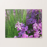 Pink Phlox and Grass Summer Flowers Jigsaw Puzzle