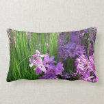 Pink Phlox and Grass Summer Flowers Lumbar Pillow