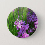 Pink Phlox and Grass Summer Flowers Pinback Button