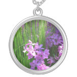 Pink Phlox and Grass Summer Flowers Silver Plated Necklace