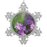 Pink Phlox and Grass Summer Flowers Snowflake Pewter Christmas Ornament