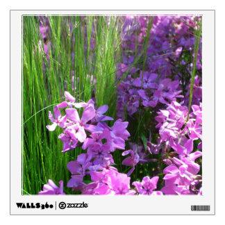 Pink Phlox and Grass Summer Flowers Wall Sticker