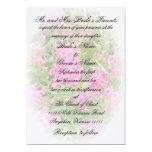 "Pink Phlox and Verse Wedding 5"" X 7"" Invitation Card"