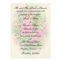Pink Phlox and Verse Wedding Invite