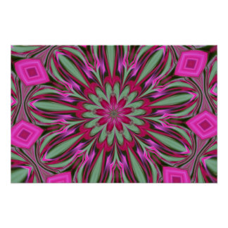 Pink Phlox Kaleidoscope Poster