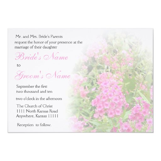 "Pink Phlox Wedding 2 5"" X 7"" Invitation Card"