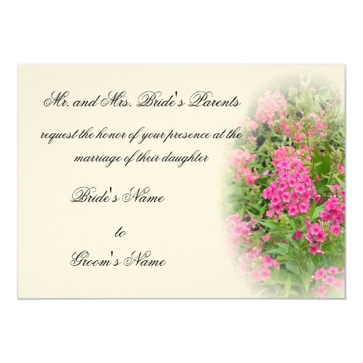 Pink Phlox Wedding 5x7 Paper Invitation Card
