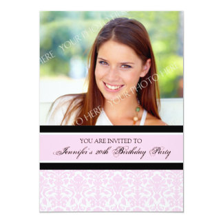 Pink Photo 20th Birthday Party Invitations
