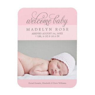Pink Photo Birth Announcement | Baby Girl Magnet