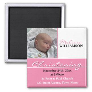 Pink Photo Christening or Baptism Invitation 2 Inch Square Magnet