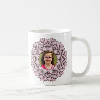 pink photo frame with hearts coffee mug