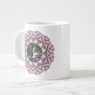pink photo frame with hearts large coffee mug