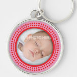 Pink photo frame with red dots keychain