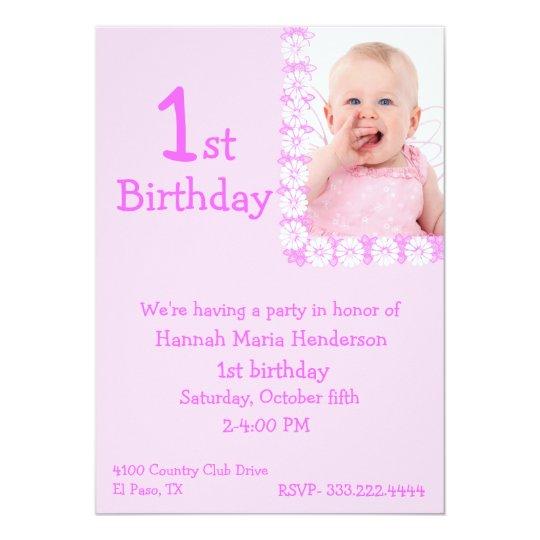 Pink Photo Girl's 1st Birthday Invitation
