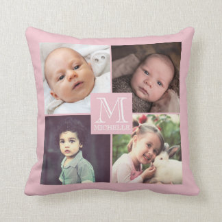 Pink photo girly monogramed collage throw pillow