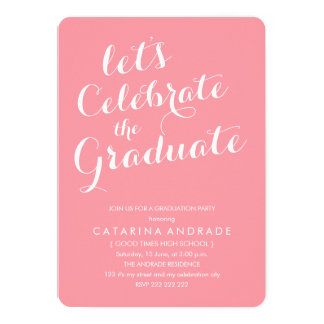 Pink Photo Graduation Party Girly Modern Script Card
