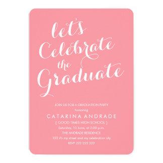 Pink Photo Graduation Party Girly Modern Script Card