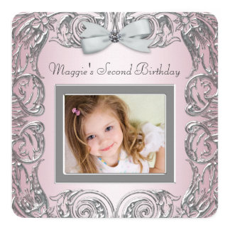 Pink Photo Second Birthday Party Card
