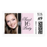 Pink Photo Sweet Sixteen Party Postage Stamps