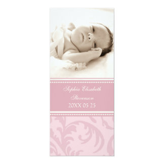 """Pink Photo Template New Baby Birth Announcement 4"""" X 9.25"""" Invitation Card"""