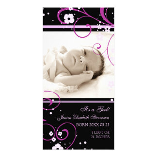 Pink Photo Template New Baby Birth Announcement Custom Photo Card