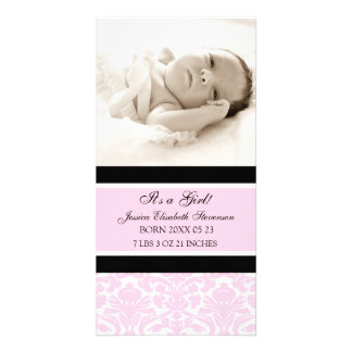 Pink Photo Template New Baby Birth Announcement Personalized Photo Card