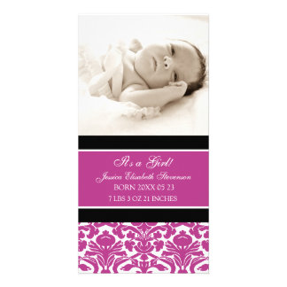 Pink Photo Template New Baby Birth Announcement Photo Greeting Card
