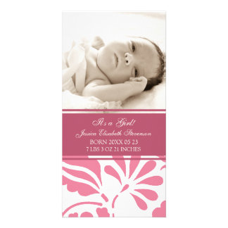 Pink Photo Template New Baby Birth Announcement Photo Card