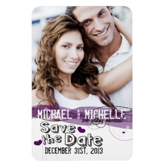 Pink Photo Template Save the Date Rectangle Magnet