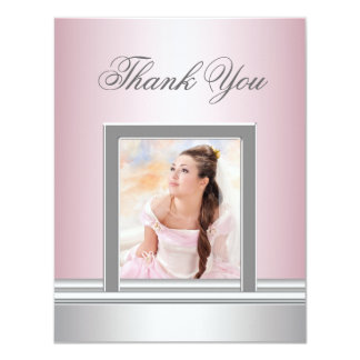 """Pink Photo Thank You Card RSVP All Purpose 4.25"""" X 5.5"""" Invitation Card"""