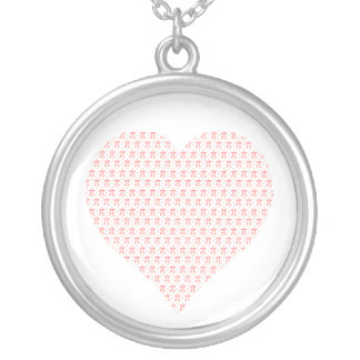 Pink Pi Heart Round Pendant Necklace