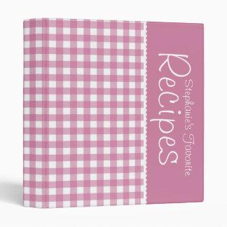 Pink Picnic Gingham Personalized Recipe Binder