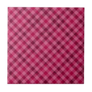 Pink Picnic in Plad - Beautiful Plaid Hot Pink Ceramic Tile