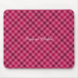 Pink Picnic in Plad - Beautiful Plaid Hot Pink Mouse Pad