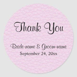 Pink Picture of Leather, Wedding Thank You Classic Round Sticker