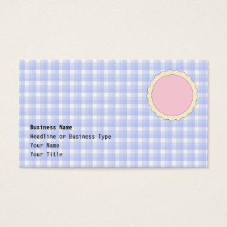 Pink Pie. Strawberry Tart. Blue check. Business Card