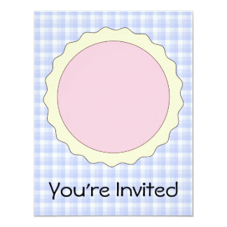 Pink Pie. Strawberry Tart. Blue check. Card