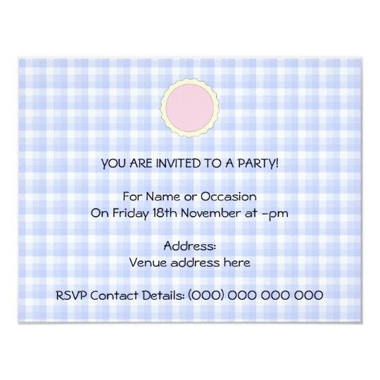 Pink Pie. Strawberry Tart. Blue check. Card