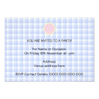 Pink Pie. Strawberry Tart. Blue check. 5x7 Paper Invitation Card