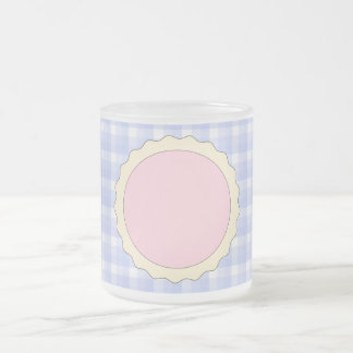 Pink Pie. Strawberry Tart. Blue check. 10 Oz Frosted Glass Coffee Mug