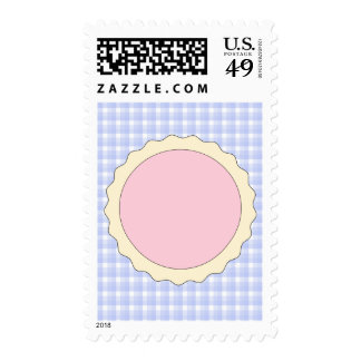 Pink Pie. Strawberry Tart. Blue check. Postage Stamps