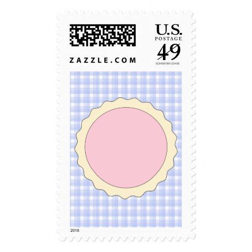 Pink Pie. Strawberry Tart. Blue check. Stamp