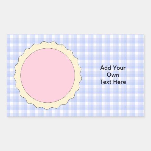 Pink Pie. Strawberry Tart. Blue check. Rectangular Sticker