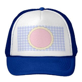 Pink Pie. Strawberry Tart. Blue check. Trucker Hat