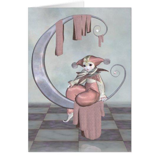 Pink Pierrot Clown Doll on a Silver Moon Card