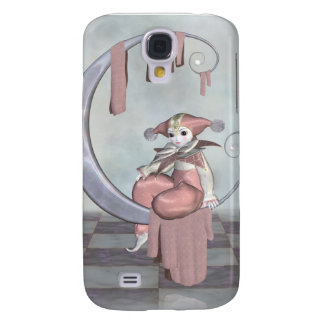 Pink Pierrot Clown Doll on a Silver Moon Galaxy S4 Cover