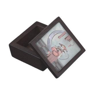 Pink Pierrot Clown Doll on a Silver Moon Jewelry Box