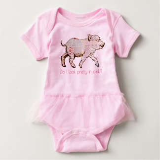 Pink Pig and Butterflies Baby Bodysuit