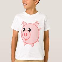 Pink pig animation cartoon illustration T-Shirt